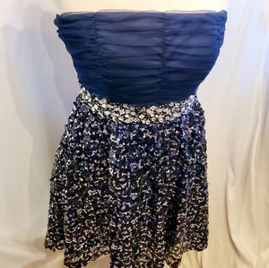 My michelle party dress strapless sequined navy 13